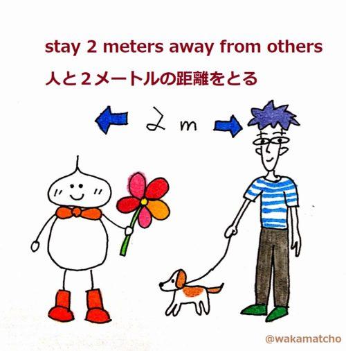ソーシャルディスタンスで人と2メートルの距離をとっている画像。stay 2 meters away from others