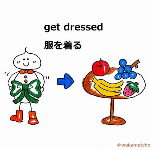 朝食前に洋服を着ている画像。get dressed