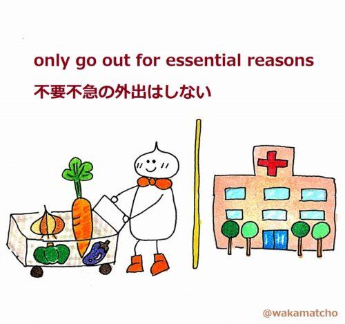 食料品の買い出しと病院にだけ行って、不要不急の外出をしていない画像。only go out for essential reasons