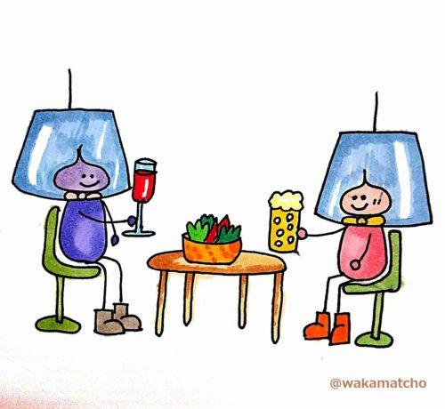 プラスチック製のフェイスシールドの中に入って食事をしている画像。plastic shield