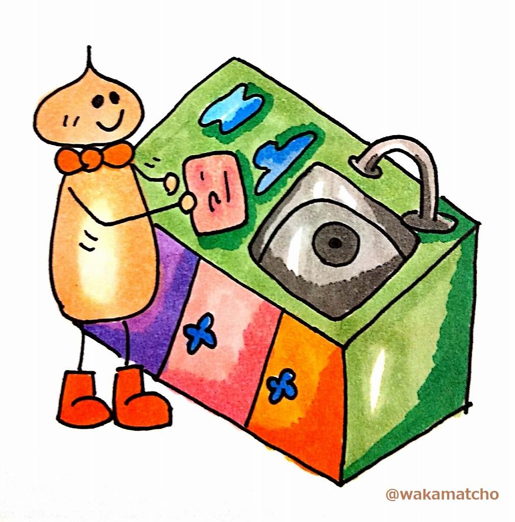 お皿洗いの後、調理台を拭いている画像。wipe the counter
