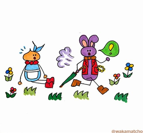 シロウサギがアリスのそばを走っていく画像。a White Rabbit ran close by Alice