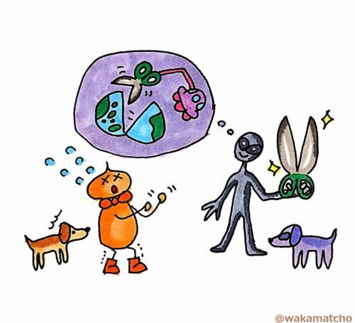 宇宙人を何とか説得している画像。persuade the alien
