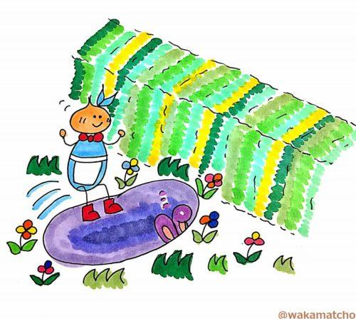 アリスがウサギの巣穴に飛び込む画像。Alice went down a rabbit-hole