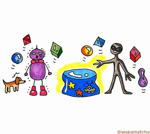 宇宙人のゲームに恐れおののいている画像。play the game
