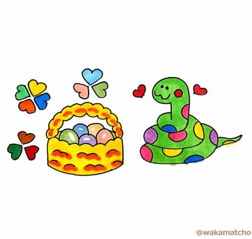ニシキヘビが産卵したイラスト。a python laid eggs