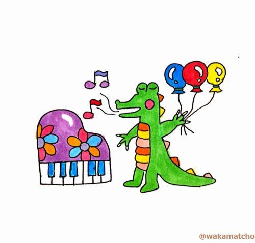 ワニがヘリウムガスを吸って歌っているイラスト。helium raises alligators' pitch