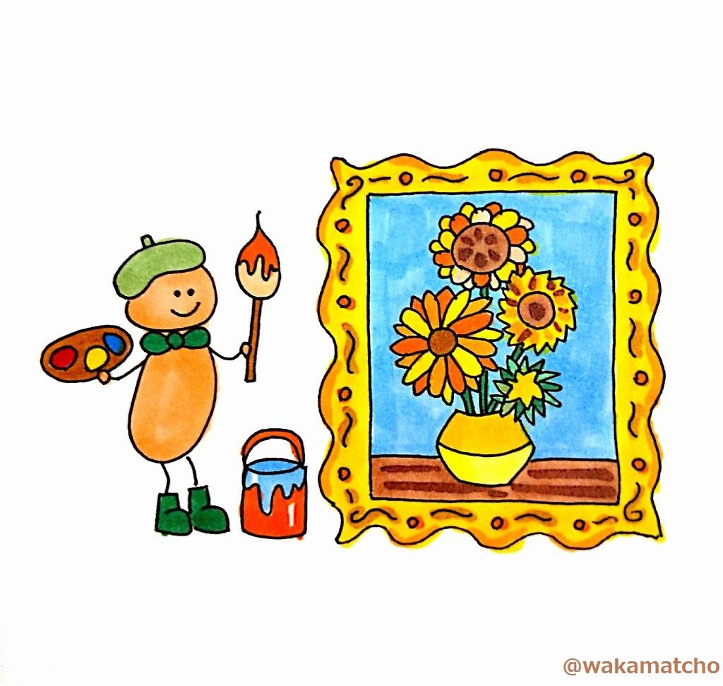 ゴッホのひまわりの作品のイラスト。a Van Gogh