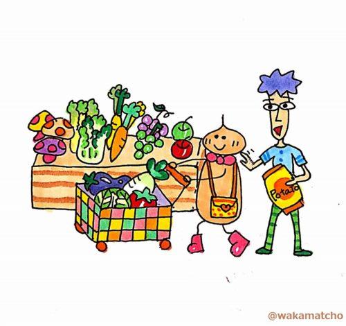 果物と野菜のお買い物をしているイラスト。fruit and vegetables