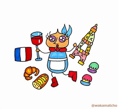 フランス語で話しかけるアリスのイラスト。a French mouse