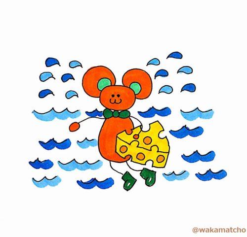 涙の池に落ちたただのネズミのイラスト。only a mouse