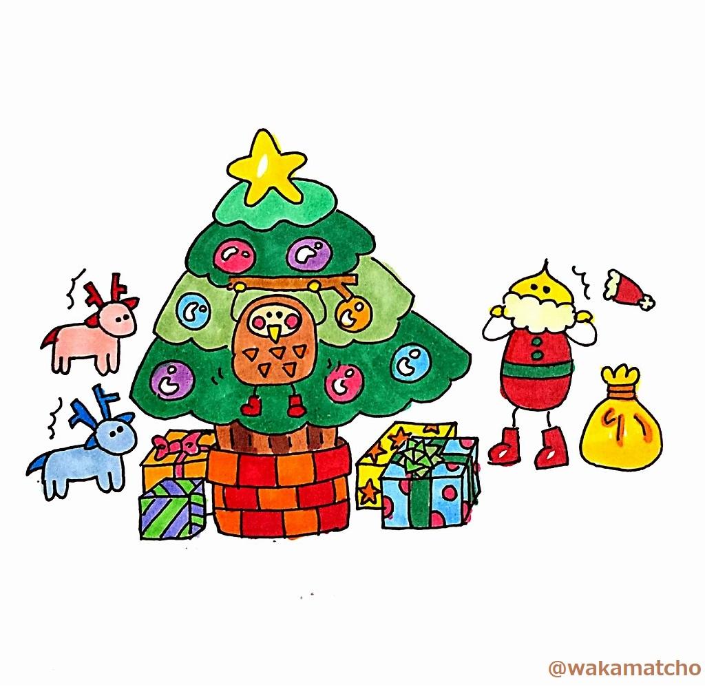 クリスマスツリーに隠れていたフクロウのイラスト。an owl in the Christmas tree