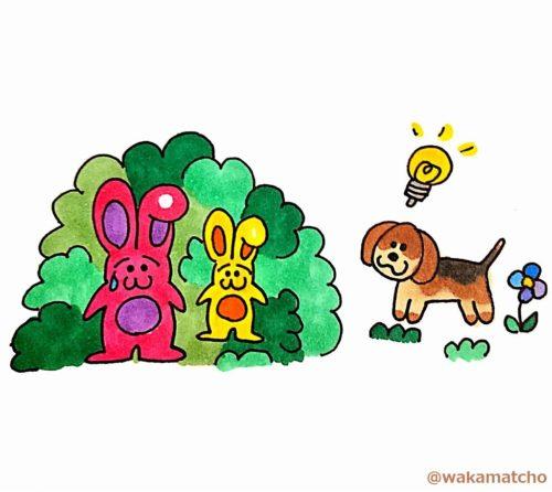ウサギ狩りをしているビーグル犬。the beagle is hunting rabbits