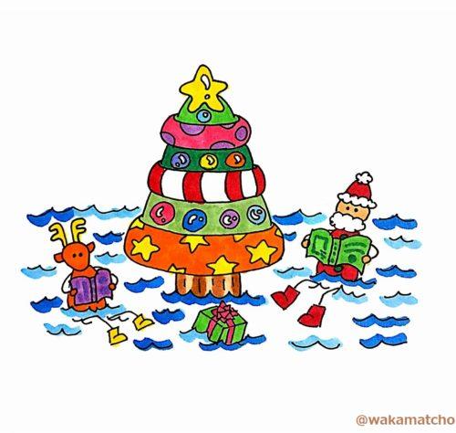 死海にサンタとツリーが浮いているイラスト。Santa Claus came to the Dead Sea