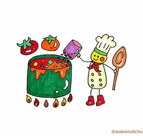 トマトスープに隠し味を入れているイラスト。a secret ingredient in his tomato soup