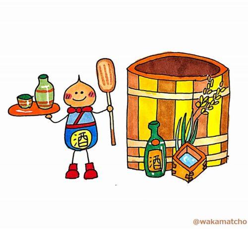 日本酒の杜氏のイラスト。a sake master brewer