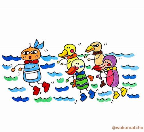 アリスを先頭に岸へと泳いでいるイラスト。swam to the shore