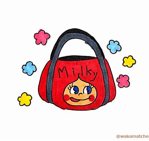 ペコちゃんのバッグのイラスト。peco chan