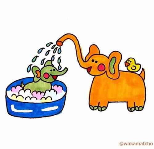 お母さん象が赤ちゃんをお風呂に入れているイラスト。elephant mothers spray water at babies