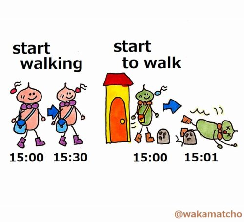 start walkingとstart to walkの違い。