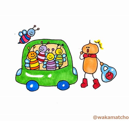 車の中に蜂。a swarm in the car