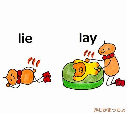 横になると横たえる。lie and lay