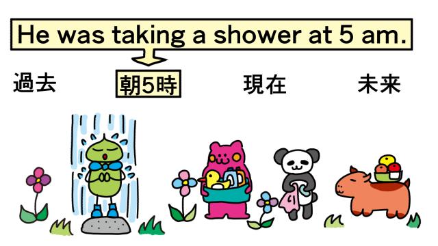 シャワー中。taking a shower