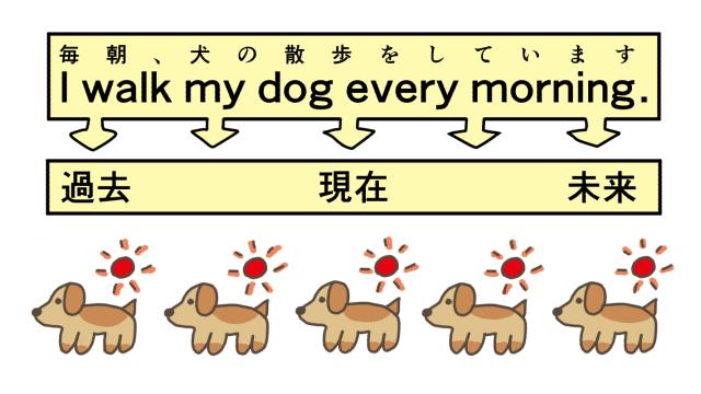朝の犬の散歩